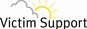 Victim Support Logo | Victim Support in text, grey cloud with sun shining behind it.